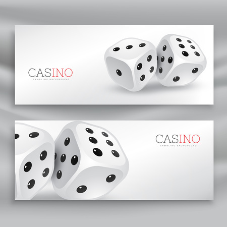 playing dice banners vector set