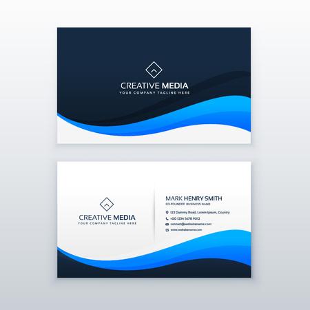 Ilustración de A stylish blue wave business card vector design. - Imagen libre de derechos