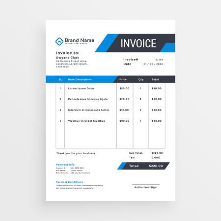 Photo pour elegant invoice template design for your business in blue color - image libre de droit