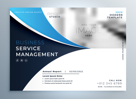 Ilustración de blue wavy business brochure or magazine cover page template - Imagen libre de derechos