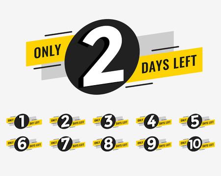 Ilustración de promotional banner with number of days left sign - Imagen libre de derechos