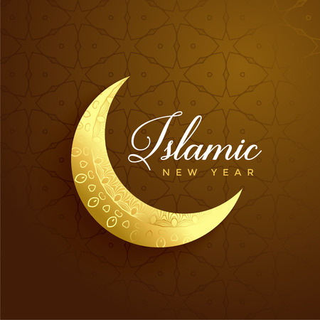 Illustration pour islamic new year design with golden moon - image libre de droit