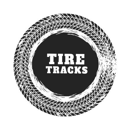 Illustration for tire track circle background design - Royalty Free Image