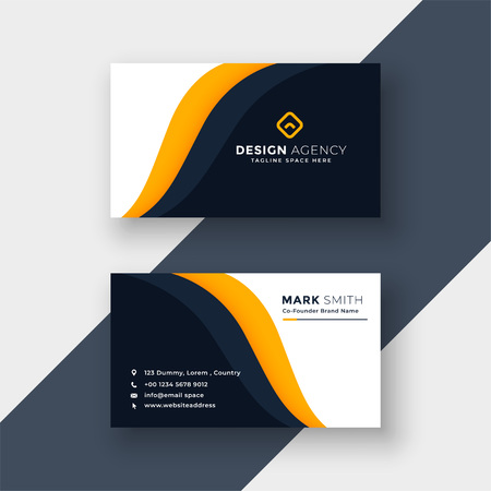 Illustration for awesome yellow business card template - Royalty Free Image