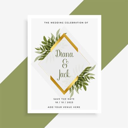 Illustration pour elegant wedding card design with frame of leaves - image libre de droit