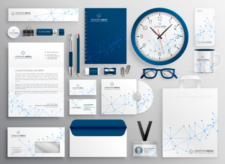 Ilustración de business stationery set in wireframe diagram - Imagen libre de derechos