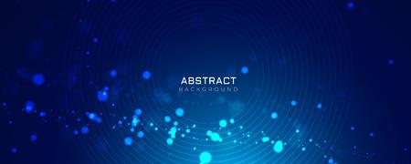 Ilustración de blue background with glowing dots bokeh style - Imagen libre de derechos