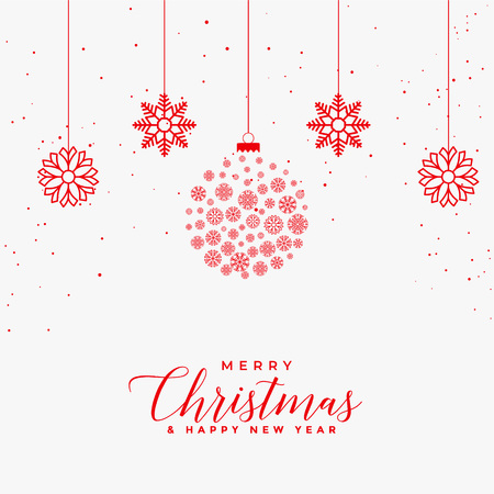 Illustration pour lovely merry christmas white card with red snowflakes balls - image libre de droit