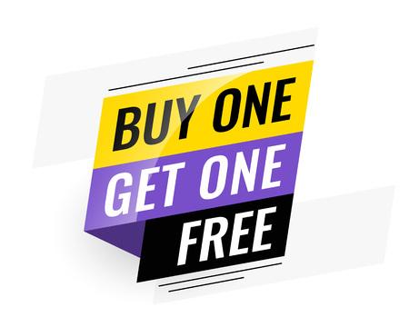 Illustration pour bogo (buy one get one) free sale banner - image libre de droit