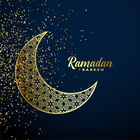 Illustration pour golden decorative moon with glitter ramadan kareem background - image libre de droit
