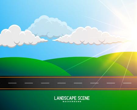Illustration pour green cartoon landscape with road background - image libre de droit