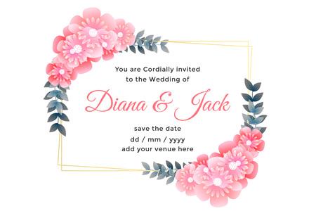 Illustration pour beautiful flower decorative wedding card design - image libre de droit