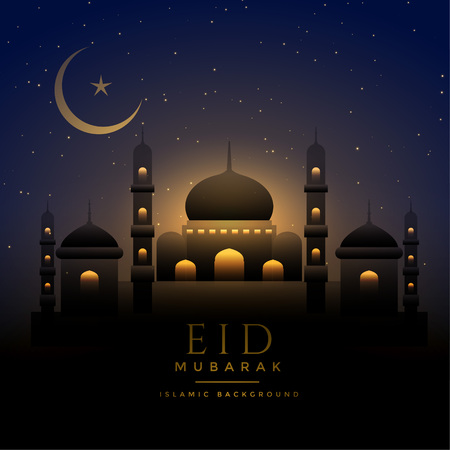 Illustration pour beautiful night scene eid background with mosque and moon - image libre de droit