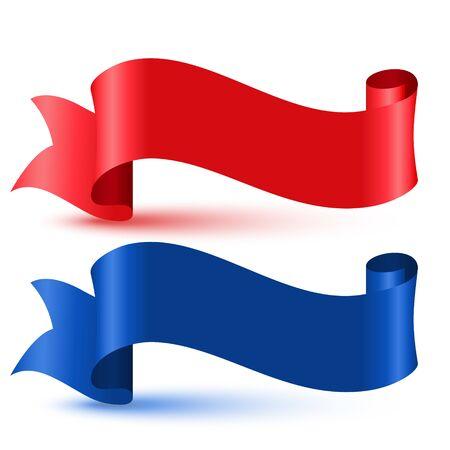 Illustration pour red and blue 3d flag ribbon banner - image libre de droit
