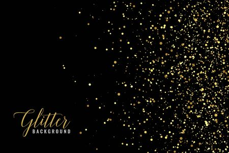 Illustration for abstract golden glitter sparkle on black background - Royalty Free Image