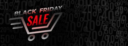 Illustration for black friday shopping sale and discount banner design - Royalty Free Image