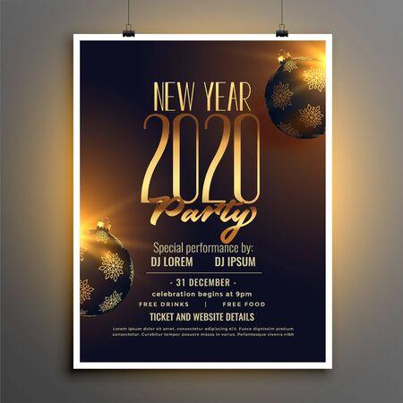 Illustration pour happy new year 2020 party flyer design template - image libre de droit