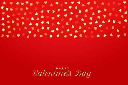 Illustration for valentines day red background with golden hearts - Royalty Free Image
