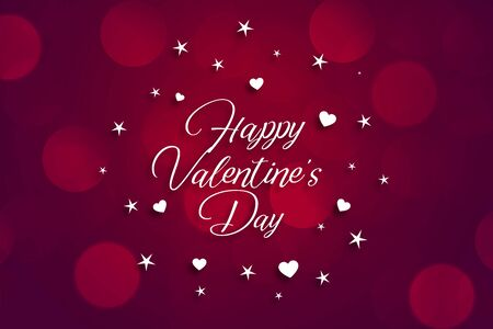 Illustration for happy valentines day beautiful bokeh background design - Royalty Free Image