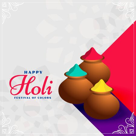 Illustration pour happy holi colors pots festival background design - image libre de droit
