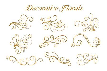 Illustration pour set of decorative golden florals ornamental design - image libre de droit