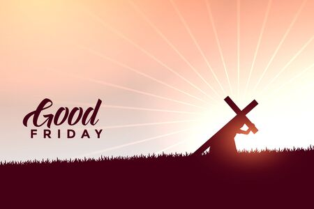 Illustration for jesus christ carrying cross good friday wishes background - Royalty Free Image