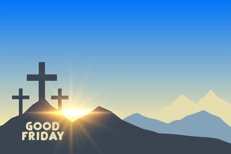 Illustration pour three cross symbols with sunrise good friday background - image libre de droit