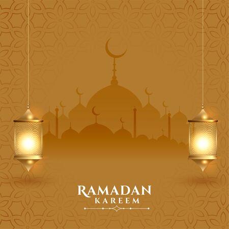 Illustration pour beautiful ramadan kareem festival card with lanterns - image libre de droit