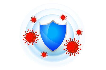 Illustration pour medical protection shield with good immune system - image libre de droit
