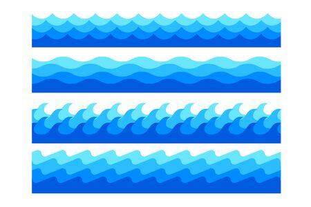 Illustration pour stylish marine sea waves in different shapes set - image libre de droit