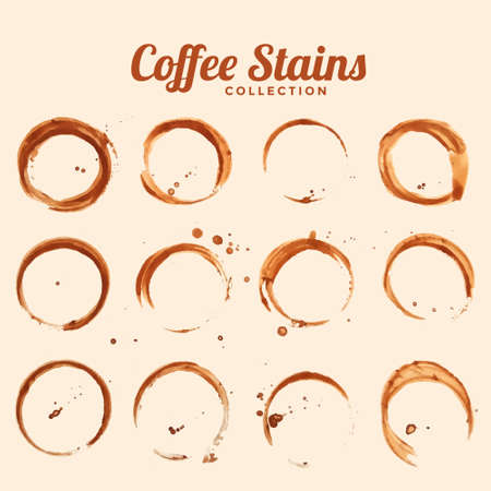 Illustration for coffee glass stain texture set of twelve - Royalty Free Image