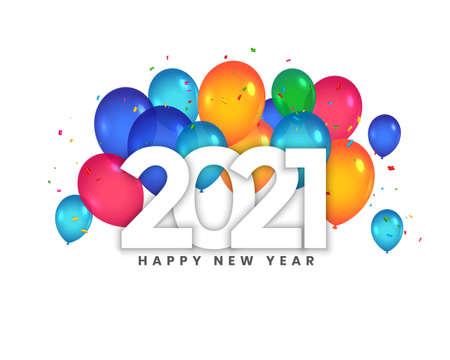 Ilustración de happy new year 2021 balloons celebration background design - Imagen libre de derechos