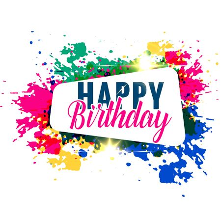 Illustration for abstract colorful splash happy birthday greeting design - Royalty Free Image