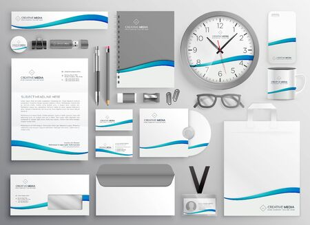 Illustration pour modern clean business stationery set design - image libre de droit