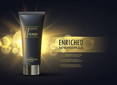 Illustration pour cosmetic product packaging design concept for premium brand in dark gold bokeh background - image libre de droit