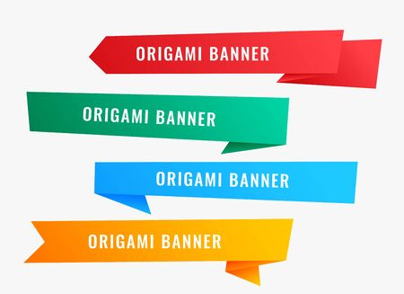 Illustration pour wide origami banners in ribbon style - image libre de droit