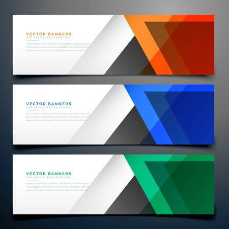 Illustration pour abstract geometric banners in three different colors - image libre de droit