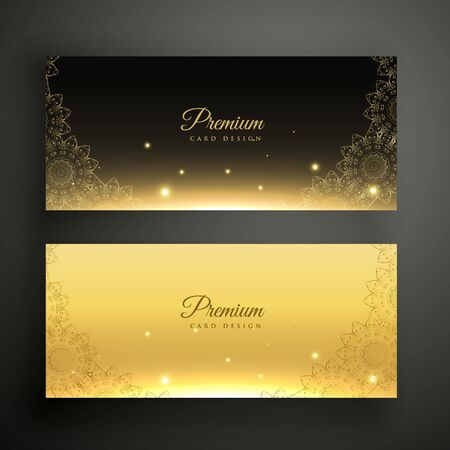 Illustration for black and golden ornamental decoration banners - Royalty Free Image