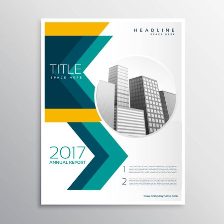 Illustration for annual report business brochure template design with arrow style shape - Royalty Free Image