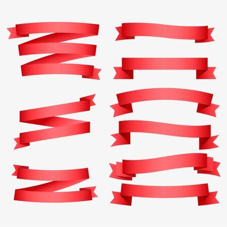 Ilustración de set of shiny red ribbons - Imagen libre de derechos