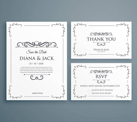 Illustration for clean wedding invitation, thankyou card, save the date template design - Royalty Free Image