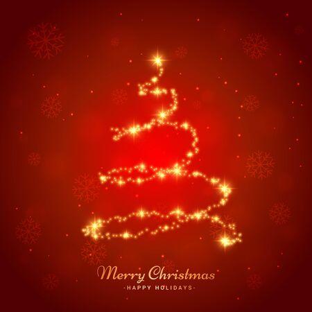 Illustration pour merry christmas light snowflake and tree background - image libre de droit