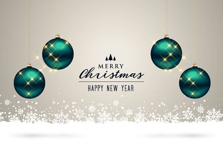 Illustration for christmas background with balls and snowflakes decoration - Royalty Free Image