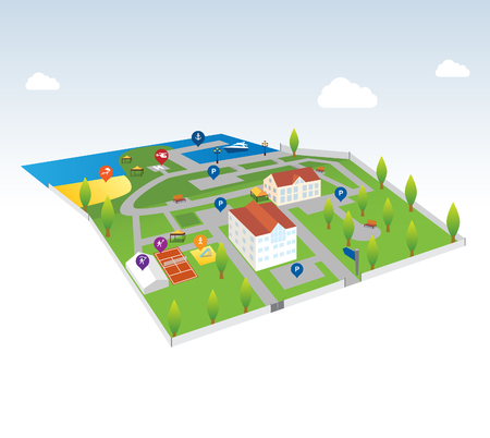 Isometric map - Illustration (Isometric landscapes with city buildings, parks, lakes and rivers).