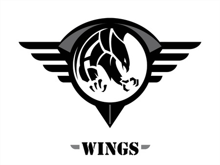 attacking black hawk on the black winged circle shield. wings of team.