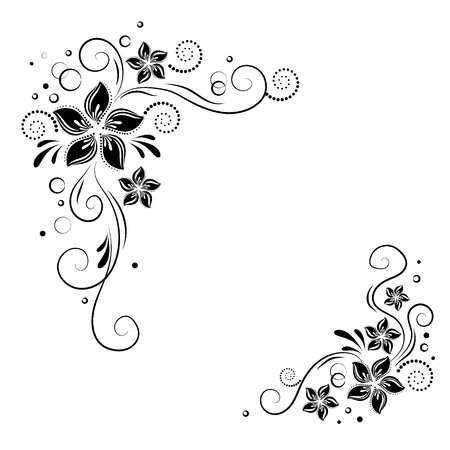 Illustration for Floral corner design. Ornament black flowers. stock. Decorative border with flowery elements, flowers pattern - Royalty Free Image