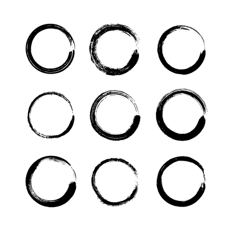 Illustration pour Set of black grunge round shapes isolated on white background. Circle hand drawn frames, logo ink brush strokes. Collection of coffee ring stains or stamps, banners, labels - vector illustration. - image libre de droit