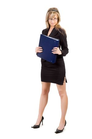 young blond businesswoman holding folder, isolated on white