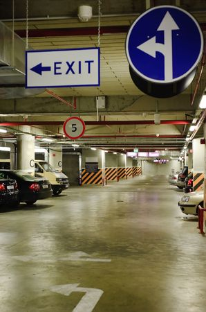 underground parking   in the basement of a mall