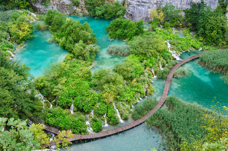 Bird view of beautiful waterfalls in Plitvice Lakes, National Park of Croatia